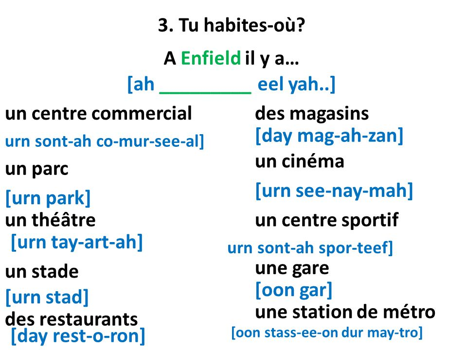 3. Tu habites-où A Enfield il y a… [ah _________ eel yah..]